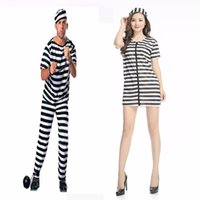 Wholesale Christmas Holiday Women Clothing - Halloween dance costumes performance clothing clothing COS COS prisoner costume adult men and women jumpsuits happy holiday costume in store