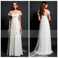 Wholesale Pleated Empire Waist Garden Bridal - Vintage Summer Chiffon White A-Line Wedding Dresses Lace Appliques Empire Waist Pregnant Bridal Gowns 2017 Beaded Crystal Summer