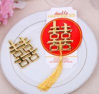 Wholesale Double Happiness Wedding Favors - 100pcs Chinese Asian themed double happiness bottle opener Wedding Party Favors Wedding giveaways Free shipping #GV523