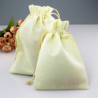 Wholesale Burlap Fabric Bags - 100pcs lot Natural Burlap Linen Fabric jewelry Bags Drawstring Gift Pouch Wedding Jewelry Pouches 7*9cm 12 colors
