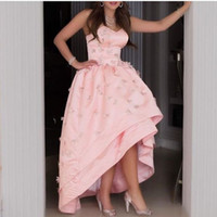 Wholesale Satin Multilayers Flower - 2016 Pink Gorgeous Ball Gowns with Sweetheart 3D Floral Sexy Backless Multilayers Ruffles Hi-Lo Prom Pageant Dresses