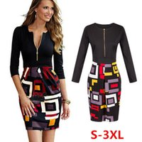 Wholesale Ladies Working Dresses - 1045 free shipping 2017 women's clothing women fashion sexy zipper print panelled plus size dress ladies autumn office work dresses S-3XL