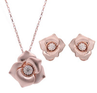 Wholesale white china rose pendant resale online - 18K Rose Gold Flower Jewelry Sets Fashion Crystal Pendant Set Top Quality Cheap Necklace Earrings Set sets min order