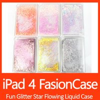 Wholesale Star China Phone - Fun Glitter Star Flowing Liquid Case For Tablet PC iPad 4 Transparent Clear Golden Covers Hard Plastic Cell Phone Cases DHL Free shipping