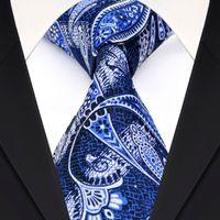Wholesale Ties White Men Jacquard - Wholesale F5 Navy Blue White Paisley Floral Mens Ties Neckties 100% Silk Jacquard Woven Suit Gift For Men