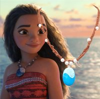 Wholesale Wholesale Children Jewelry - MHS.SUN Cartoon Movie Resin Pendant Princess Kid Necklace Moana Plastic Braided Leather Necklace Jewelry Best Gift For Children Girls