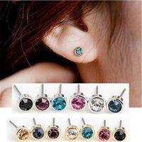 Wholesale Pair Crystal Stud Earrings - Stud Earrings Mix 20 Pairs New Shiny Small Crystal Earrings Cute Wild Earrings Jewelry Components Earring Caps (20 pairs Lot)