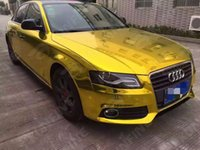 Wholesale Gold Chrome Sticker - Car Styling Wrap Chrome Gold Car Vinyl film Body Sticker Car Wrap With Air Free Bubble For Vehiche Motorcycle 1.52*20M  Roll KF-F1025