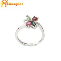 Wholesale Watermelon Tourmaline Wholesale - S925 silver Clover gemstone rings Watermelon tourmaline rings multicolor NATURAL STONE ring fine jewelry wholesale FR031