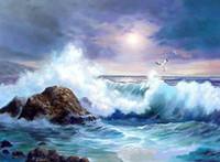 ingrosso dipingere le onde marine-Onde di oceano incorniciate di vista sul mare con l'uccello di mare della roccia, pittura a olio genuina dipinta a mano di paesaggio marino su tela di alta qualità, multi formati disponibili