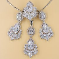 Wholesale Silver Turquoise Jewelry Box - 4pcs White Topaz Zircon 925 Sterling Silver Jewelry Sets For Women Long Drop Earring Necklace Pendant Ring Free Gift Box