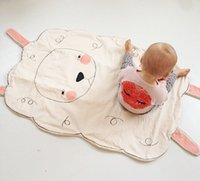 Kids Cute Sheep Pattern Carpet Cotton Quilts Lovely Blanket Soft Beding Après-midi Nap Blanket Crawling Game Pad For Bed Canapé 100 * 75cm