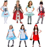 Wholesale Corduroy Girls Christmas Dresses - Halloween kids girl dress cosplay princess dress fairy tale Alice children stage performance suits ballet skirt costumes girls tutu dresses