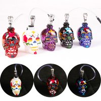 Wholesale Drawing Water Colors - New style Colored Drawing Skull Glass Shisha Hookah Glass water pipe 5 Colors SK5000