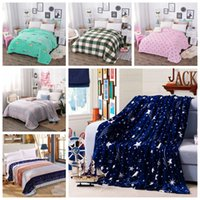 Wholesale Queen Blanket Soft - 200x230cm Bright stars blanket High Density Super Soft Flannel Blanket to on for the sofa Bed Car Portable blanket