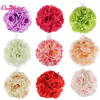 Wholesale Pink Pomander - 5Pcs 5 inch Artificial Silk Flower Rose Kissing Balls Bouquet Centerpiece Pomander Party Wedding Centerpiece decorations