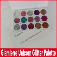 Wholesale Brand Makeup Palette - New brand Glamierre Unicorn Glitter Eyeshadow Palette 15 Colors Makeup Shimmer Shinny Eye Shadow Palette DHL