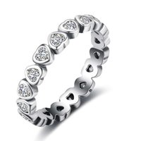 Wholesale Size Rings Women - Sterling Silver Cubic Zirconia Rings Simulated Diamond Engagement Rings Wedding Rings For Women 5pcs Mix Size