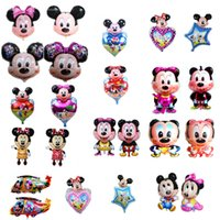 Wholesale Model Balloons - minnie mickey mouse head helium balloons all style birthday party decoration big shaped mylar balloons wholesale factory price DHL freeship