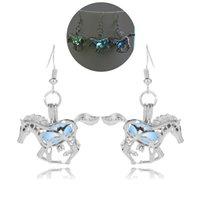 Wholesale Night Earrings - 2017 originality punk horse stud earrings for women Jewelry Fashion multicolor hallowmas night glows earrings Free shipping wholesale gift