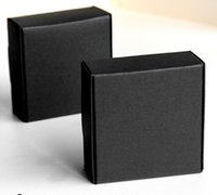 Wholesale Earing Black - 8*8*4cm Black Jewelry Paper Box Gift Packaging Ring Earing Necklace Packing Boxes for Christmas Wedding Birthday