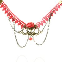 Trendy Handmade Gothic Retro Red Lace Rhinestone Flower Chain Anklets Parte Ankle Bracelet Foot Jewelry For Women