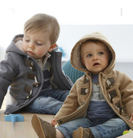 Wholesale Cheap Boys Hooded Jacket - 2016 new boy fashion warm jacket 2-8 years cheap baby autumn & winter hoodie beautiful horn button casual child clothes A24