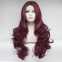 Wholesale Halloween Costumes For Womens - Body Wave Womens Long Wavy Wine red Wig Curly Glamour Hair Style for Halloween Cosplay Costumes