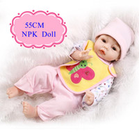 Wholesale Cheap Newborn Clothes For Girl - New Design 55cm 22inch Cheap Reborn Dolls With Cute Baby Doll Clothes Adora Baby Doll Best Early Enducation Doll Toys For Girls