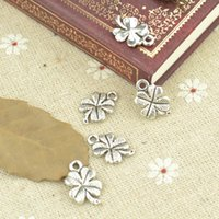 Wholesale Gold Metal Leaf Necklace - ashion Jewelry Charms Wholesale 100pcs lot metal antique charm tibetan silver lucky four leaf clover pendant fit jewelry making Z42707 fr...