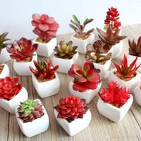 künstliche saftige topfpflanzen großhandel-Simulation Blumentopf Portable Vase Bonsai Tropischer Kaktus Künstliche Sukkulente Topf Praktische Wohnkultur Viele Stil Wählen 4 3ys R