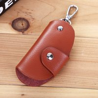 Wholesale European Key Ring Chain - 2017 Stylish and practical soft buckle leather car key bag multi-function key ring gift 4 color optional