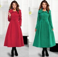 Wholesale Europe Winter Coat - European Style New Lotus Leaf Large Ladies Coat Wool Coat Europe The United States Loose Long Coat Vintage Fashion Women Winter Cloak S-XXL