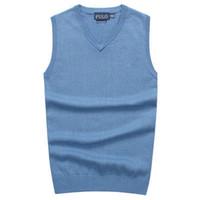 männer v-ausschnitt polo großhandel-2018 neue Männer V-Ausschnitt Weste Pullover 100% Baumwolle POLO Pullover Man's Golf Weste Pullover Bekleidung Herren warme Pullover