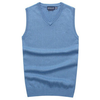 Wholesale Knitting Long Vests - 2018 New Men's V-neck vest sweater 100% cotton POLO sweaters Man's Golf vest sweater Clothing Men's warm Sweaters