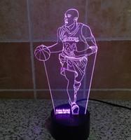Wholesale 24 leds - 2016 New Kobe Bryant 24 3D Optical Illusion Light 9 LEDs Acrylic Light Panel DC 5V Factory Wholesale