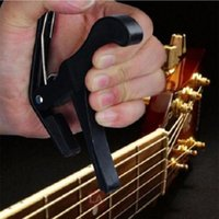 Wholesale Acoustic Guitar Tools - Wholesale- Black Quick Change Clamp Key Capo Acoustic Electric Classic Guitar Musical Instruments Tool Accessories