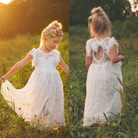 Wholesale Wedding Dress Open Back Bow - 2016 Vintage Lace Bohemian Flower Girl Dresses Sheer Jewel Neck Ruffles Sleeveless Open Back Girls Formal Dress for Wedding with Bow