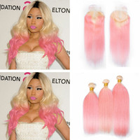 Wholesale 32 Inch Hair Extensions 613 - Ombre Hair Bundles With Lace Closure 4Pcs Lot Two Tone #613 Blonde Pink Dark Root Ombre Straight Virgin Human Hair Extensions With Closure