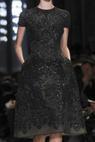 Wholesale Elie Saab Cocktail Dresses - Little Black short sleeves beaded knee length elie saab short mini homecoming prom graduation cocktail dresses evening gowns party guest