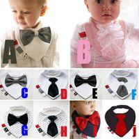 Wholesale Baby Boy Tie Bibs - PrettyBaby Fashion Waterproof Baby Boy Bowtie Bibs Newborn Dinner Feeding Bib Saliva Towel Kids Bow tie Gentleman free shipping