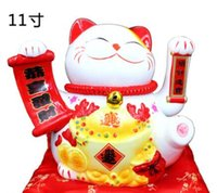 Wholesale Large Ceramic Piggy Banks - Fortune cat set up shop opening creative gift electric rocker large ceramic fortune cat piggy bank