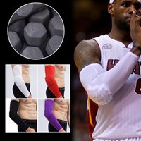 Wholesale Elbow Cuffs - Lycra honeycomb elbow longer bumper anti-stretch basketball arm cuff riding sleeve sports goods professional sports gear wholesale