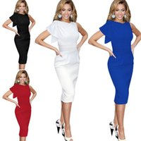 Wholesale White Long Sleeve Midi Dress - S-5XL Ladies Fashion Sleeveless Long Midi Dress Womens Clubwear Cocktail Party Evening Bodycon Pencil Dresses Slim Fit Solid Color