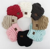 Wholesale Wholesale Childrens Caps - 2017 Autumn Winter Knitted CC Trendy Hats Babies Knitting Beanie Kids Fashion Warm Caps Childrens Casual Accessories