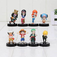 Wholesale One Piece Figures 5cm - 8pcs lot One Piece figure Luffy Nami Robin Chopper Sanji Zoro Brook cute mini pvc figure dolls with base approx 5cm