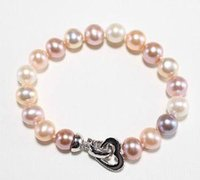 Wholesale south sea pearls rings - Nobby 9-10mm south sea gold pink white multicolor pearl bracelet 7.5-8inch 925 silver clasp