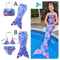 Wholesale Summer Bikinis For Kids - 2017 Girls Mermaid Swimsuits Summer Mermaid Tail Bikini Set Fashion Mermaid Costume Swimming Clothes Kids Pool Bathing Swimwear For 4-10T