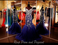 Wholesale Sweetheart Pleated Rhinestone Ruffles - New Elegant Royal Blue Major Beading Mermaid Prom Dresses Real Images Crystal Rhinestones Backless Long Arabic Luxury Evening Gowns cheap