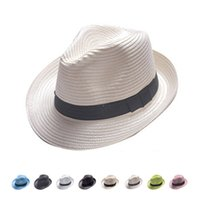 Wholesale Trilby Paper Straw Hat - Wholesale- 2017 fashion Paper Straw Unisex Fedora Trilby Gangster Cap Summer Beach Sun Topee Straw Panama Hat